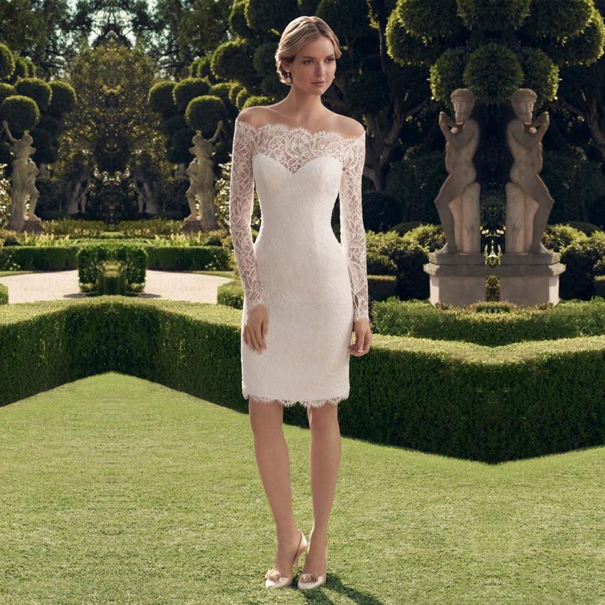 Vestidos De Noiva 2018 Sexy Long Sleeve robe de soiree Vintage Lace Tea Length Women Bridal Gown Mariage   bridesmaid     dresses