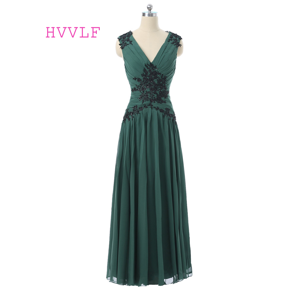 Green   Evening     Dresses   2019 A-line V-neck Cap Sleeves Chiffon Lace Beaded Women Long   Evening   Gown Prom   Dresses   Robe De Soiree