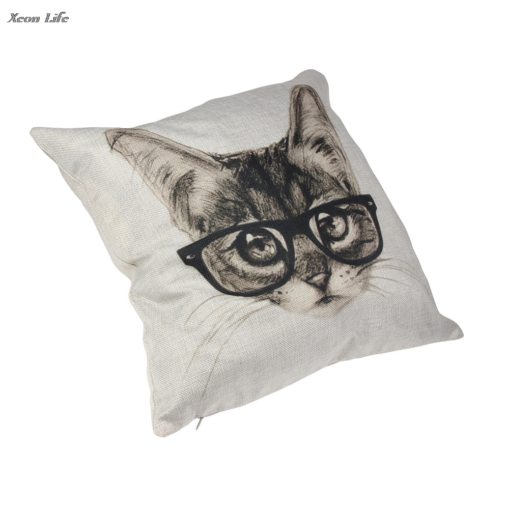 ISHOWTIENDA 2017 Lovely Cat Glasses Vintage Pillow Case Waist Cover Square Throw Pillowcase Dropshipping Wholesale