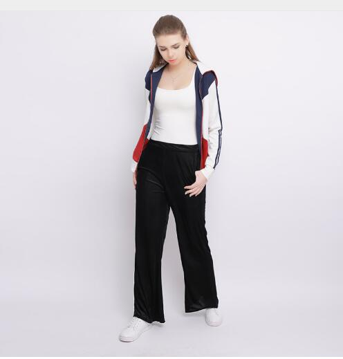 2018 Spring Summer Fashion High Waist Chiffon Wide Leg Pants Female Plus Size Loose Casual Nine