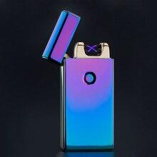 จัดส่งฟรีแฟชั่นคู่ชีพจรArcโลหะบางเฉียบUSBเบาสร้างสรรค์ชาร์จไฟแช็บุหรี่อิเล็กทรอนิกส์กล่องของขวัญ