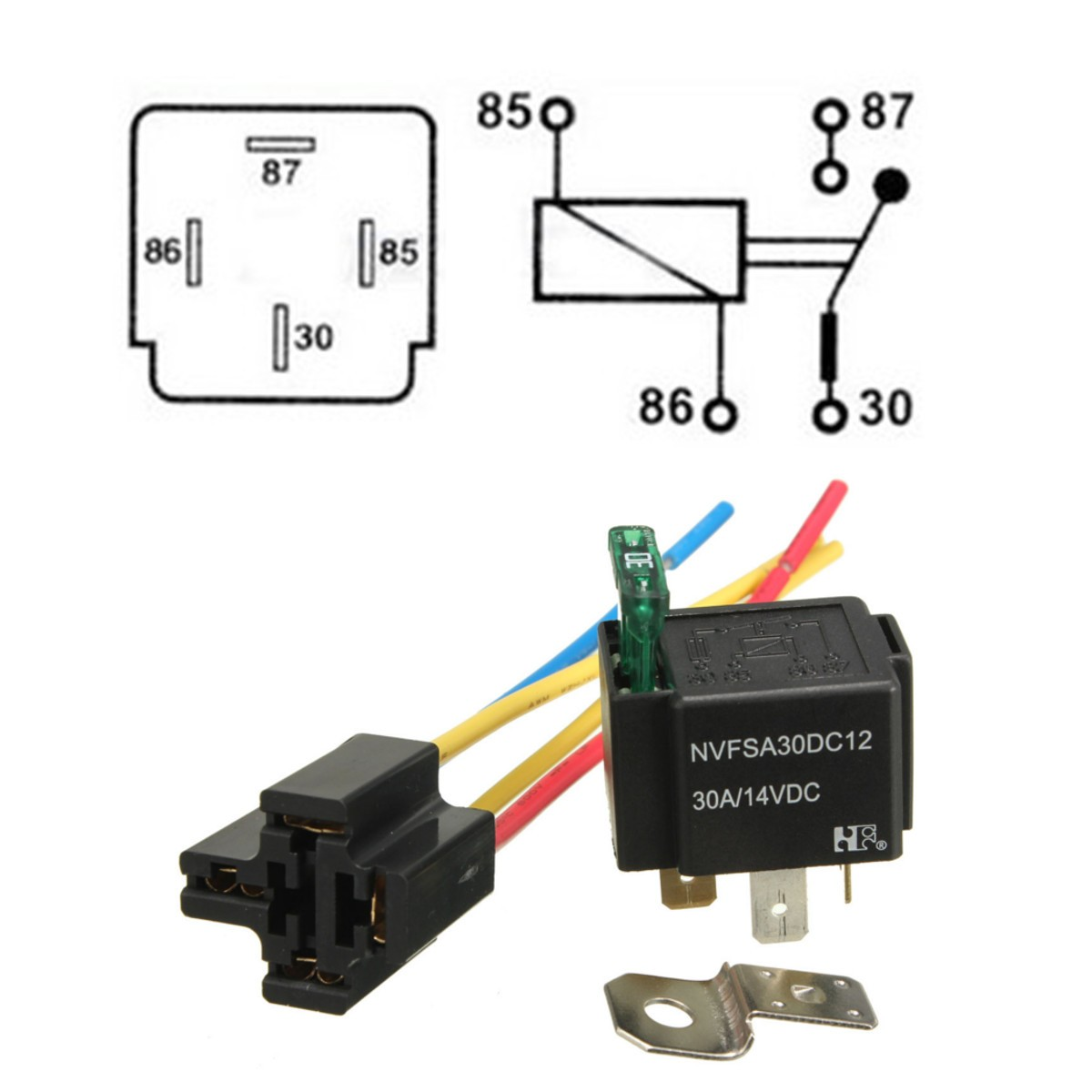Pre Wired 4 Pin Relay Mounting Base Relay Socket Holder With Medium Fused On/Off 4-Pin Wired Cable 18AWG 30A DC12V