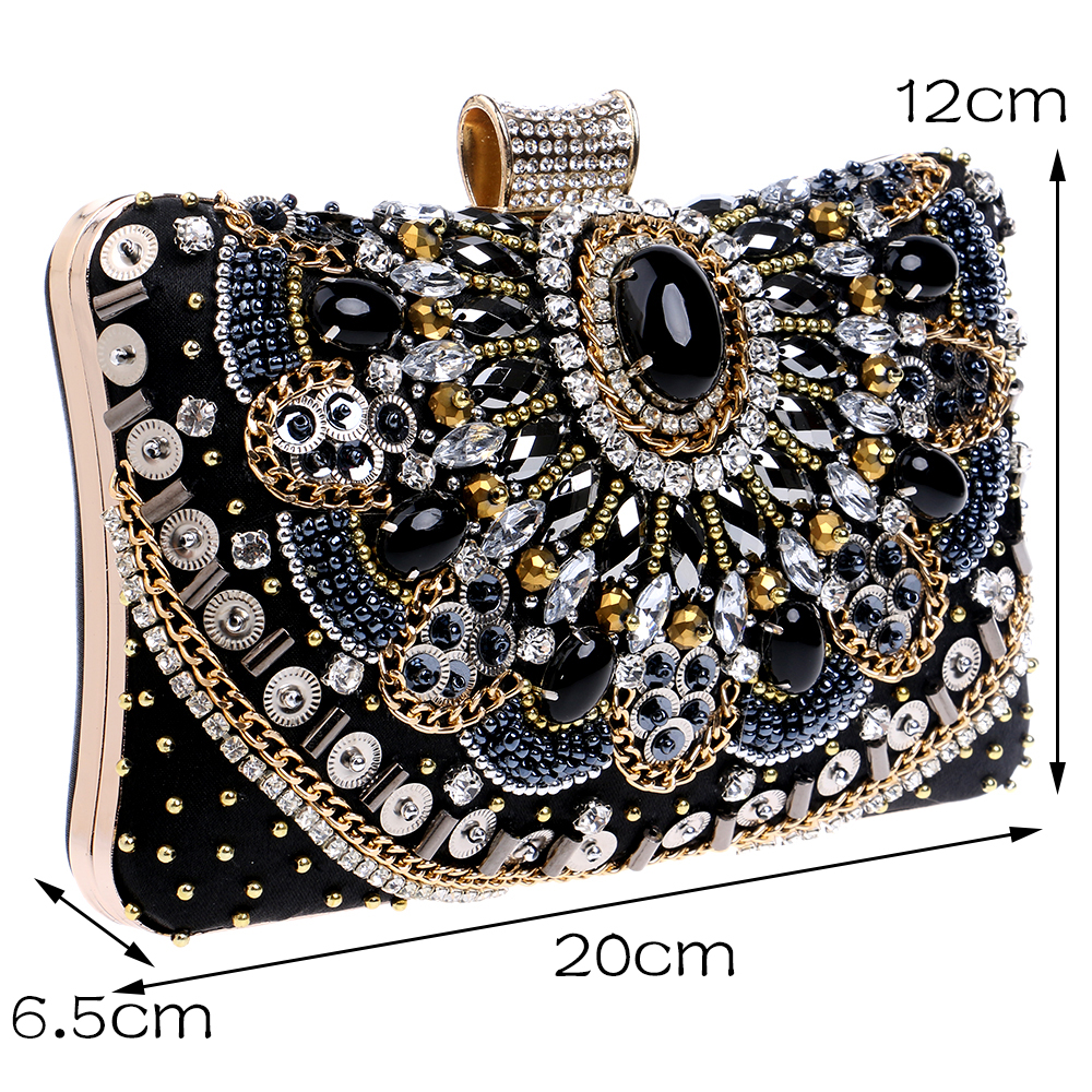 c2111dd07d718 SEKUSA Hot Sale Small Beaded Clutch Purse Elegant Black Evening Bags Wedding  Party Clutch Handbag Metal Chain Shoulder Bags