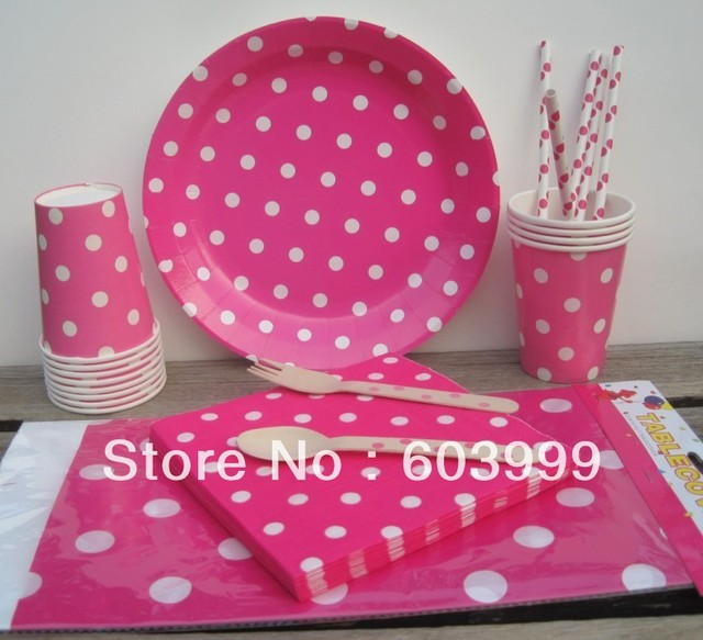 HOT PINK \u0026 WHITE POLKA DOTS Polkadot Spotty Tableware Decorations Party Plates Cup Napkins Straws Wooden  sc 1 st  AliExpress.com & HOT PINK \u0026 WHITE POLKA DOTS Polkadot Spotty Tableware Decorations ...