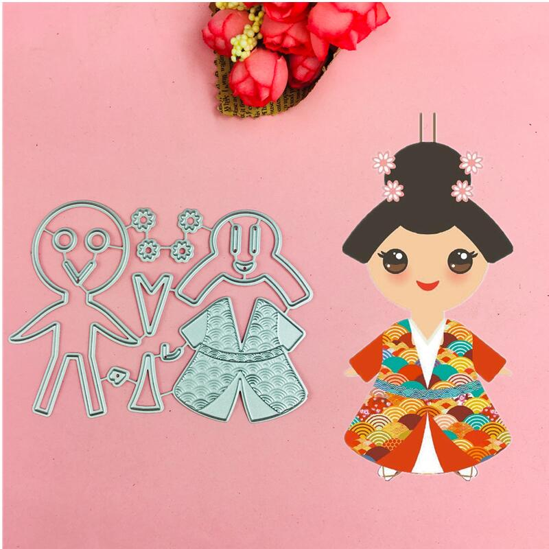 Cherry blossoms Girl cutting dies love heart  toy doll Scrapbook card paper craft home decoration embossing stencil cutter
