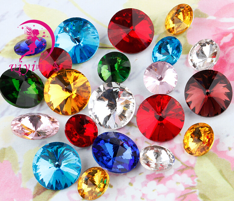 100pcs/lot Mixed Colors 8mm,10mm,12mm,14mm,16mm,18mm,20mm Chinese Top Quality Round Fancy Stone Rivoli glass beads