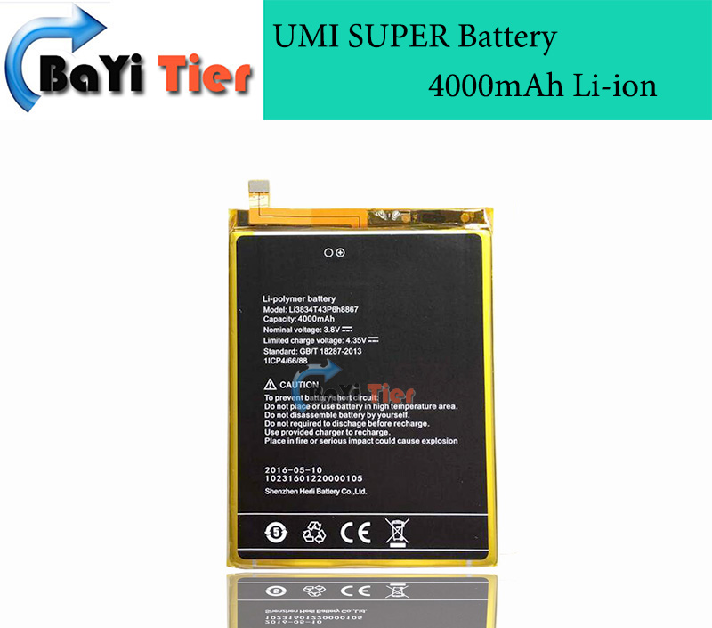 100 New High Quality for UMI SUPER Battery Li3834T43P6H8867 100 New 4000mAh Li ion Replacement Battery