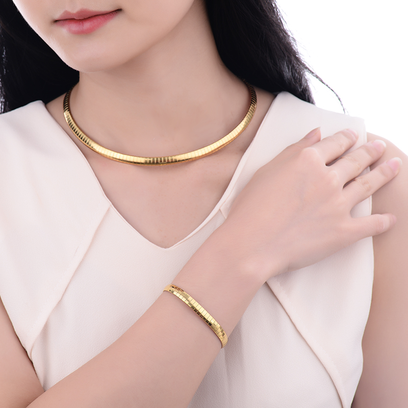 Baoyan Fashion 316L Stainless Steel Snake Chain Gold Color Choker Necklace and Bracelet Jewelry Sets For Women Jewellery Set