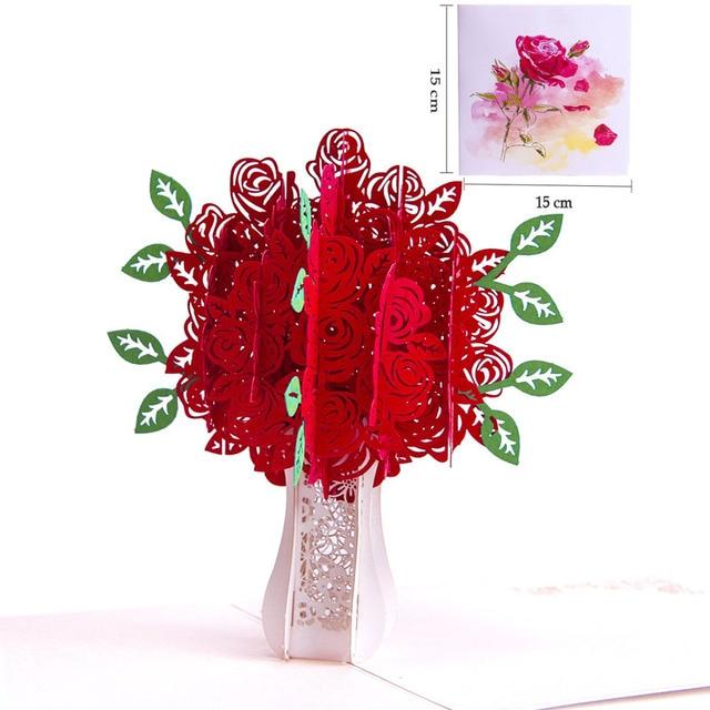 3D Laser Cut Handmade Color Print Rose Flower Paper Greeting Card Teachers Day Mothers