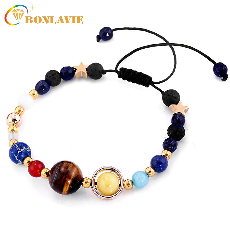 Fashion Universe Galaxy the Eight Planets Solar System Guardian Star Natural Stone Beads Bracelet Bangle for Women Men Gift