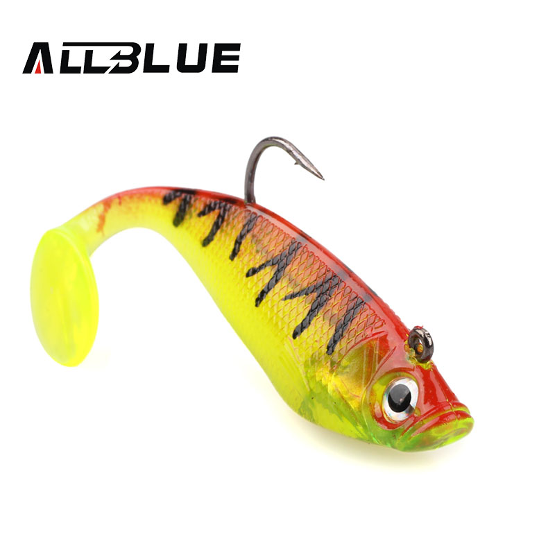 ALLBLUE 3pcs/lot 3D Eyes Lead Fishing Lures 10cm/20g Soft Lure With Single Hook Artificial Bait Jig Wobblers Rubber Jigging Shad nils master baby shad 5cm vertical jigging ice fishing lures