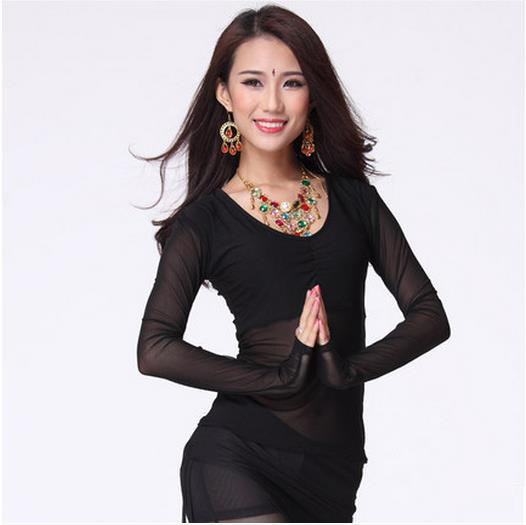 New Arrival Crystal Cotton And Mesh Belly Dance Top Momen Long Sleeves Belly Dance Tops 9 Colors Sexy Tops