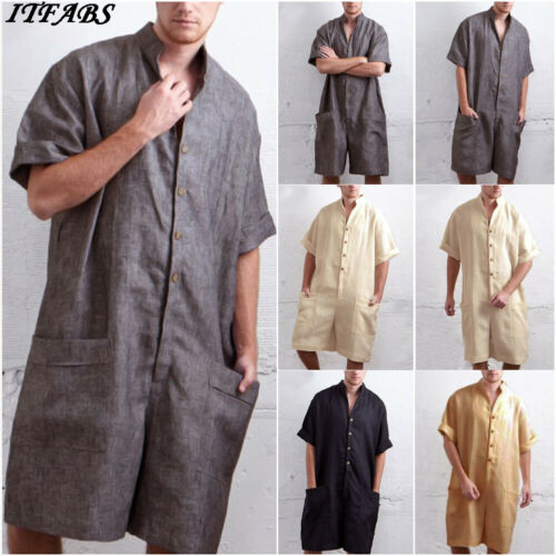 Fashion Men One Piece Rompers Solid-color Half Sleeve Button Pockets Playsuit Male Summer Street Casual Playsuit Overalls M-XXL