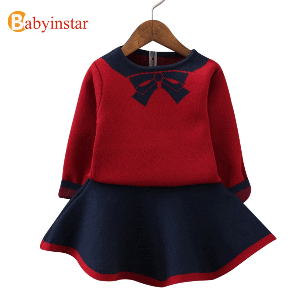 Babyinstar New Fashion Girls Clothing Set Top + Dress 2pcs For Baby Girls Clothes Children Suits Kids Autumn Knitted Outerwear fashion kids baby girl dress clothes grey sweater top with dresses costume cotton children clothing girls set 2 pcs 2 7 years
