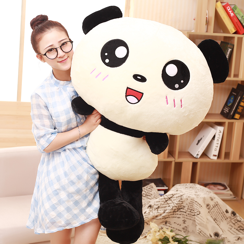 70cm Kawaii Big Head Panda Plush Toys Stuffed Soft Animal Pillow Cute Bear Gift for Children Kids Baby Girls Birthday Gift big fat kawaii sea lions seals stuffed animals plush doll toy gift plush toys for children girls kids bed pillow soft toys cute