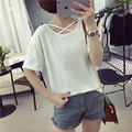Women Criss Cross Front Casual T-shirt Female Spring Summer Solid Color Short Sleeve Cotton Shirts Lady Loose Tee Tops Clothing
