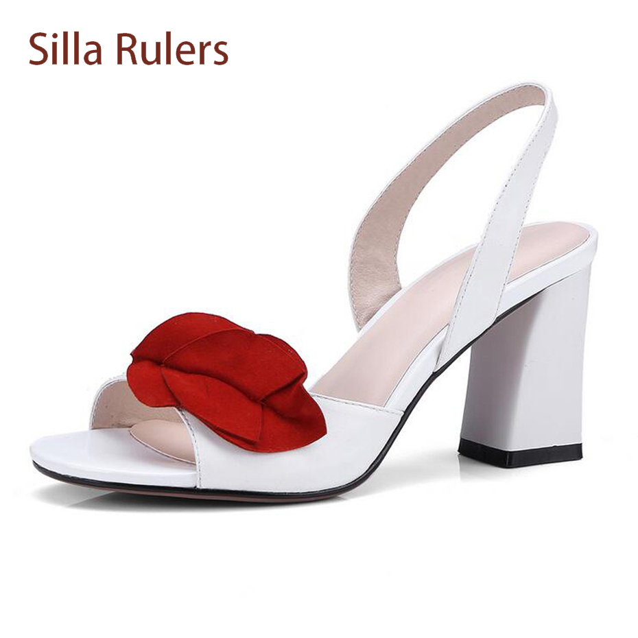 4ac23f693 new white shoes ladies Silla party leather genuine toe chunky wedding red  heel Rulers fashion peep ...
