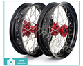 02 03 04 05 06 07 08 09 10 11 12 Front Rear 3.5*17 4.25*17 Motocross MX Black Wheel Rim Red Hub for CR 125 250 R CRF 250 450 R X