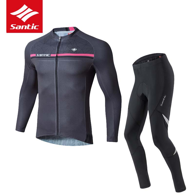 Santic Spring Autumn Cycling Jersey Set Men 2017 Racing Bike Bicycle Clothing Suit MTB Road 4D Padded Trousers Ropa Ciclismo