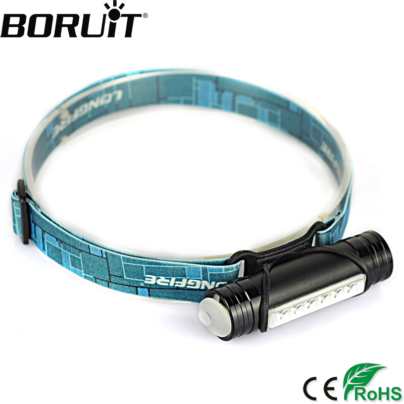 Boruit 800LM 6 LED Mini Headlamp Torch 3-Mode Flashlight USB Rechargeable Headlight Hunting Fishing Light by Built-in Battery lomom 10w 2 colors professional cree led fishing built in li ion battery for fishing hunting equipment tripod uv flashlight
