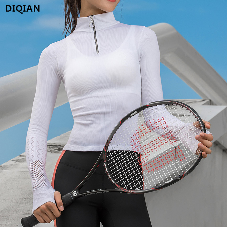 все цены на Cute Women Long Sleeve Running Yoga Sports Tops Mesh Workout Top With Thumb Holes White T-Shirt Fitness Running Sport T-Shirts