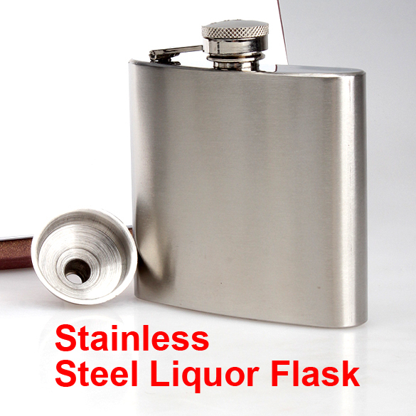 5oz Hip Flask Screw Cap Funnel Cap Stainless Drink Liquor Whisky Alcohol