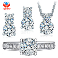 Галактика 925 серебряные ювелирные изделия класса люкс CZ алмаз обручальное кольцо ожерелье серьги свадебный комплект для женщин африканская комплект YS026