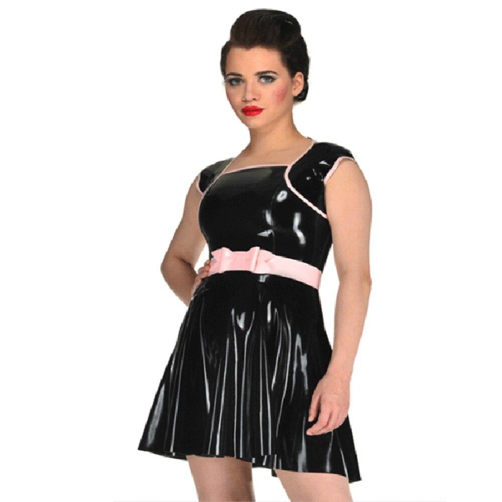 Sexy robe en Latex robes en caoutchouc avec ceinture Gummi 0.4mm tenue de club personnaliser le Service