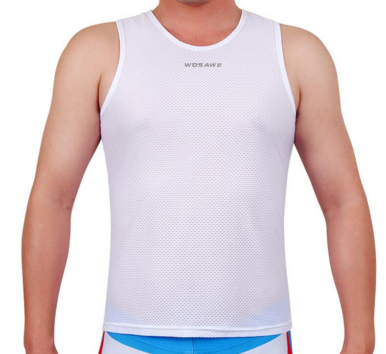 CKAHSBI Cycling Base Layers Vests Super Light Bicycle Jersey Sleeveless Shirt Breathable Bike Sport Vests Man White Underwear
