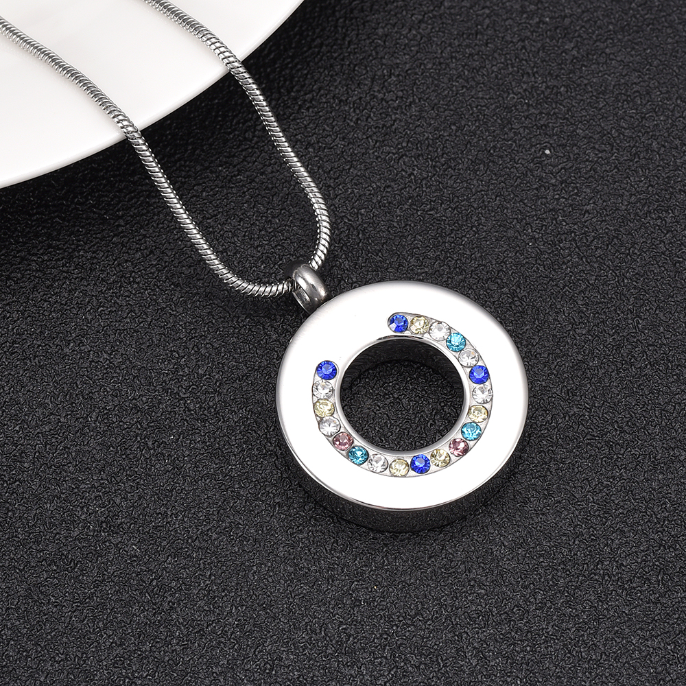 Silver Circle of Life Cremation Urn Stainless Steel Fashion Pendant Necklace