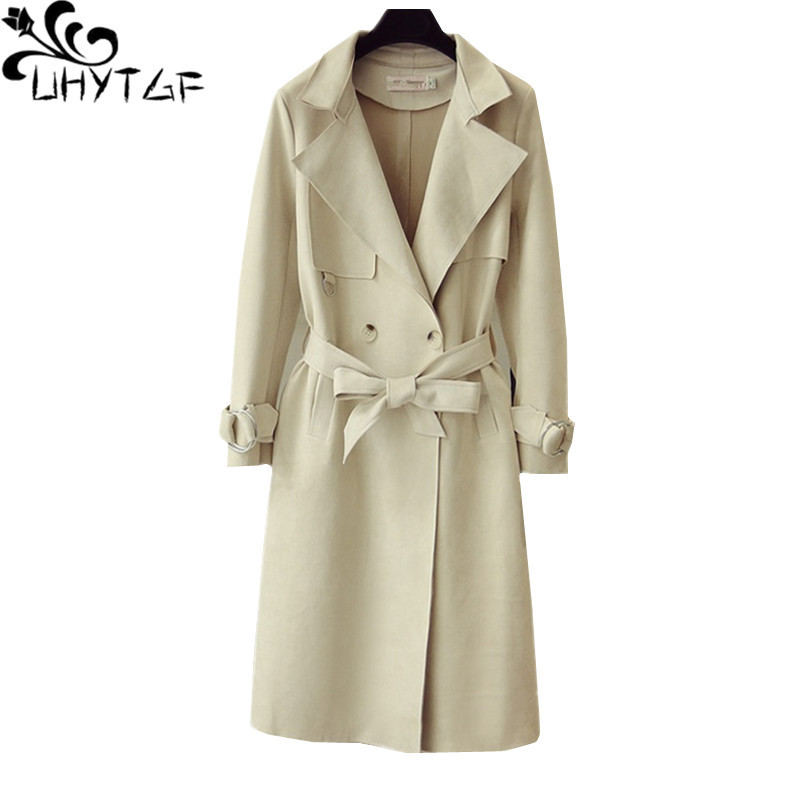UHYTGF Women windbreaker Double-breasted long coat High quality deerskin spring autumn   trench   coat Casual 2XL plus size tops 709