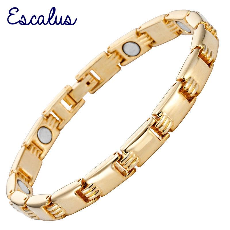 Escalus Women Shiny Golden Bracelet Magnetic Free Shipping Health Healing Gold Plating Jewelry Ladies Bangle Charm