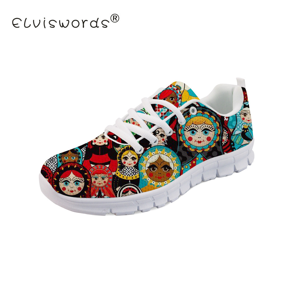 ELVISWORDS Matryoshka Printed Women Flat Shoes Ladies Doll Pattern Breathable Shoes for Girls Kawaii Black Sneakers Summer Flats instantarts women flats emoji face smile pattern summer air mesh beach flat shoes for youth girls mujer casual light sneakers
