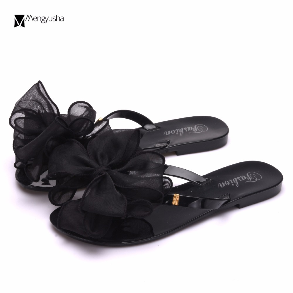 23cb3b5a0e7666 lace bow flip flops women pvc plastic flat sandals bow flower tongs  slippers ladies bohemian beach shoes metal buckle slidesc683-in Women s  Sandals from ...