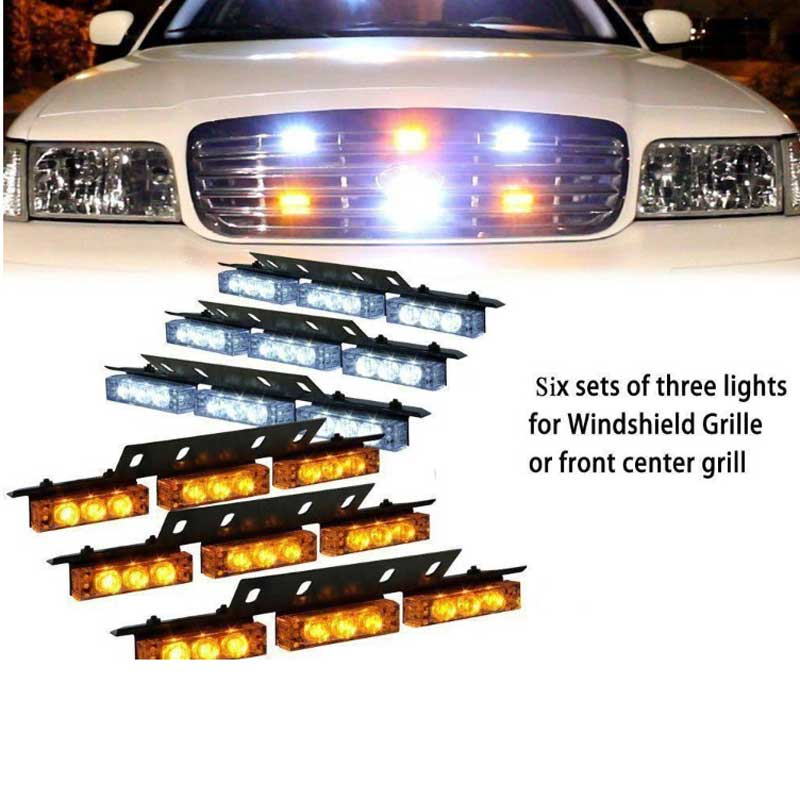 Red Blue White Green Amber 6x9 54LED Strobe Flash Warning Light Emergency Hazard Lamp Car Truck SUV Bumper Grille