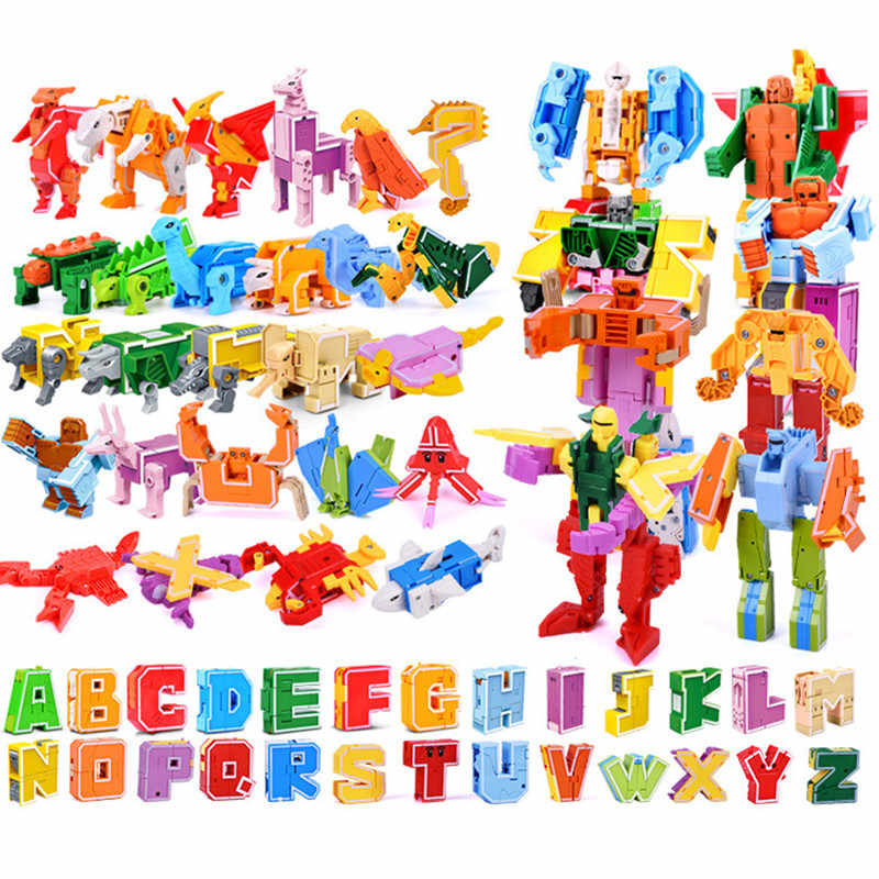 New 26 English Letter Transformer Alphabet Robot Animal Creative Educational Action Legoed Building Blocks Toy Kids Gifts
