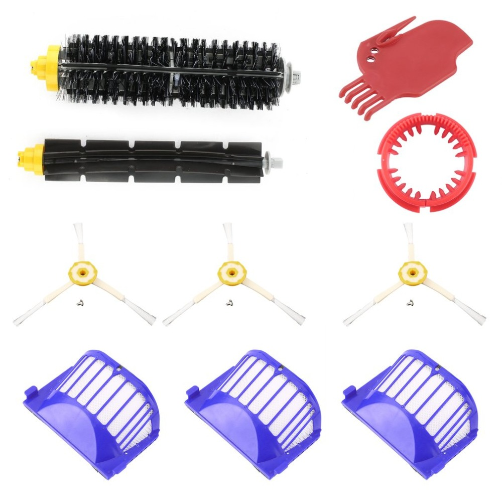 3pcs Side Brush + 3pcs Vacuum Cleaner Filter One Rolling Brush Glue Brush Flat Comb Brush For Roomba For Vacuum Cleaning Robots cheapest 1pcs cleaning mopping cloth 3 pair hepa filter 3 pair cleaner side brush for dt85 dt83 dm81 vacuum cleaner for house