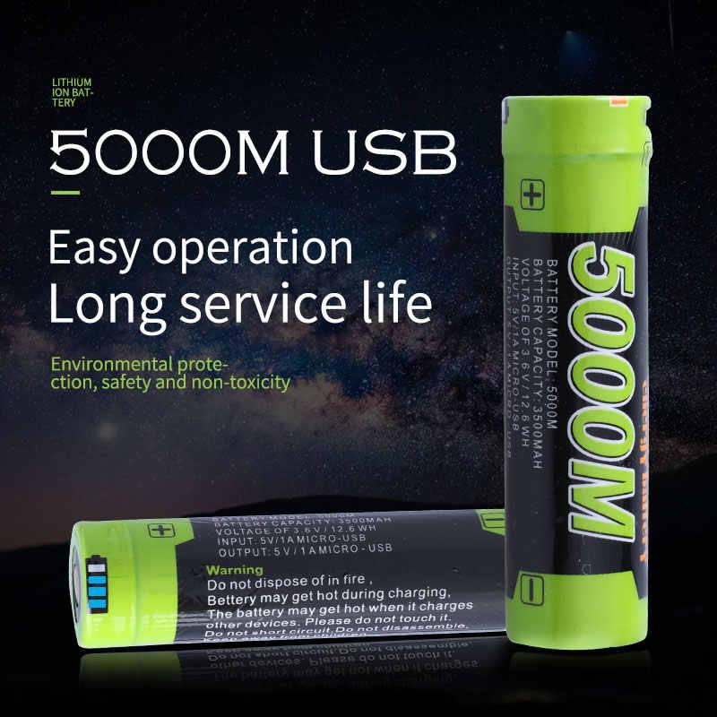 USB-5000M 3,7 V 18650 3500 mAh литий-ионная аккумуляторная батарея USB Интеллектуальная батарея с Светодиодный индикатор постоянного тока-зарядка