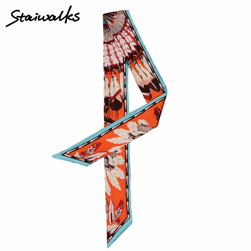 Staiwalks Women Skinny Scarfs Feather Print Twilly Headband Spring Summer Decoration For Handbag Hair Wrist Fashion