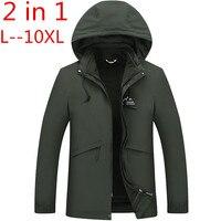 Плюс 10XL 8XL 6XL 5XL 2 в 1 Fit куртка бренд Водонепроницаемый ветровка куртка зимняя куртка Для мужчин мужской пальто дождь куртка парка