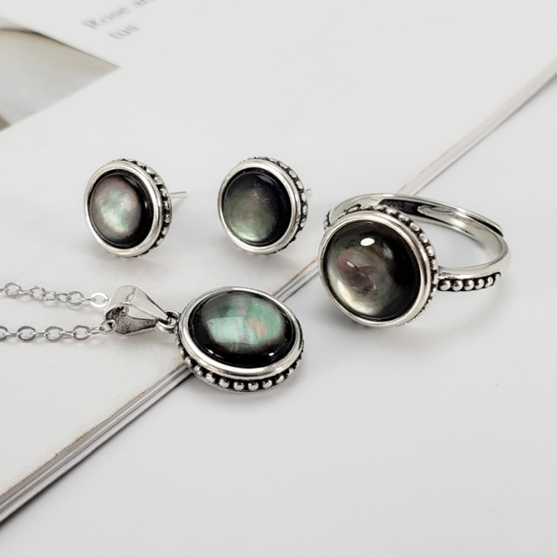 Guaranteed 925 Sterling Silver Jewelry Set Retro Antique Simple Design Women's Accessories With Natural Abalone Shell