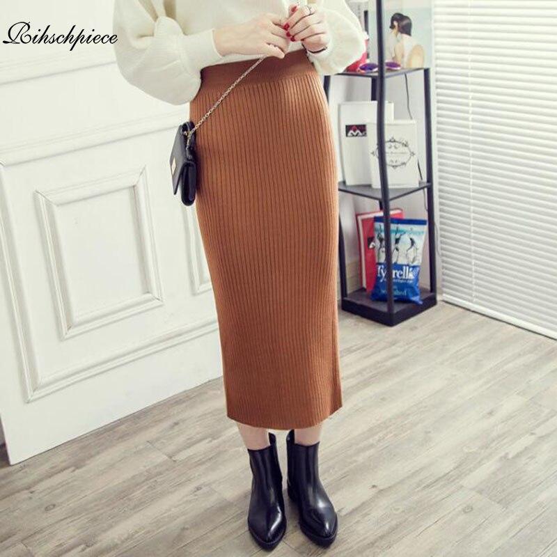 Rihschpiece 2018 Winter Pencil Long Skirt Women Knitted Vintage High Waist Maxi Skirts Womens Sexy Gothic Black Skirt RZF1429