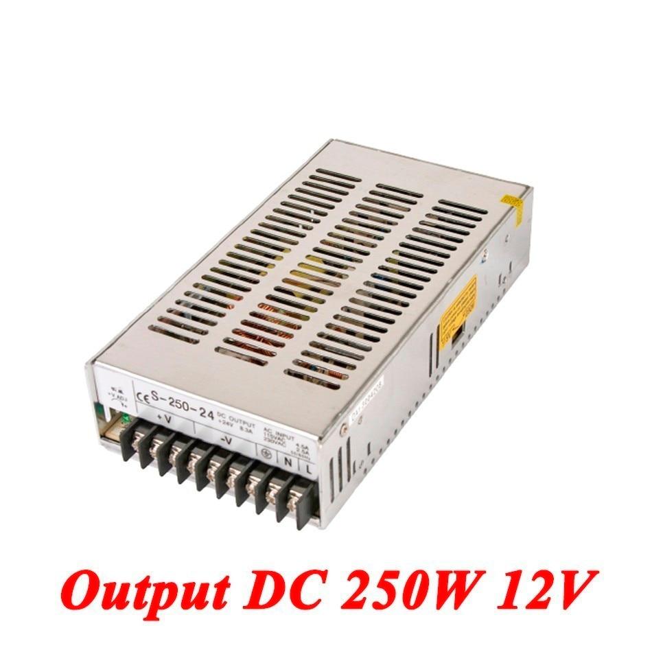 S-250-12 Switching Power Supply 250W 12v 20A,Single Output Ac-Dc Converter For Led Strip,AC110V/220V Transformer To DC 12V 5pcs white case 90 240v 110 220v ac to 12v step down dc converter led switching power supply module 5w 450ma