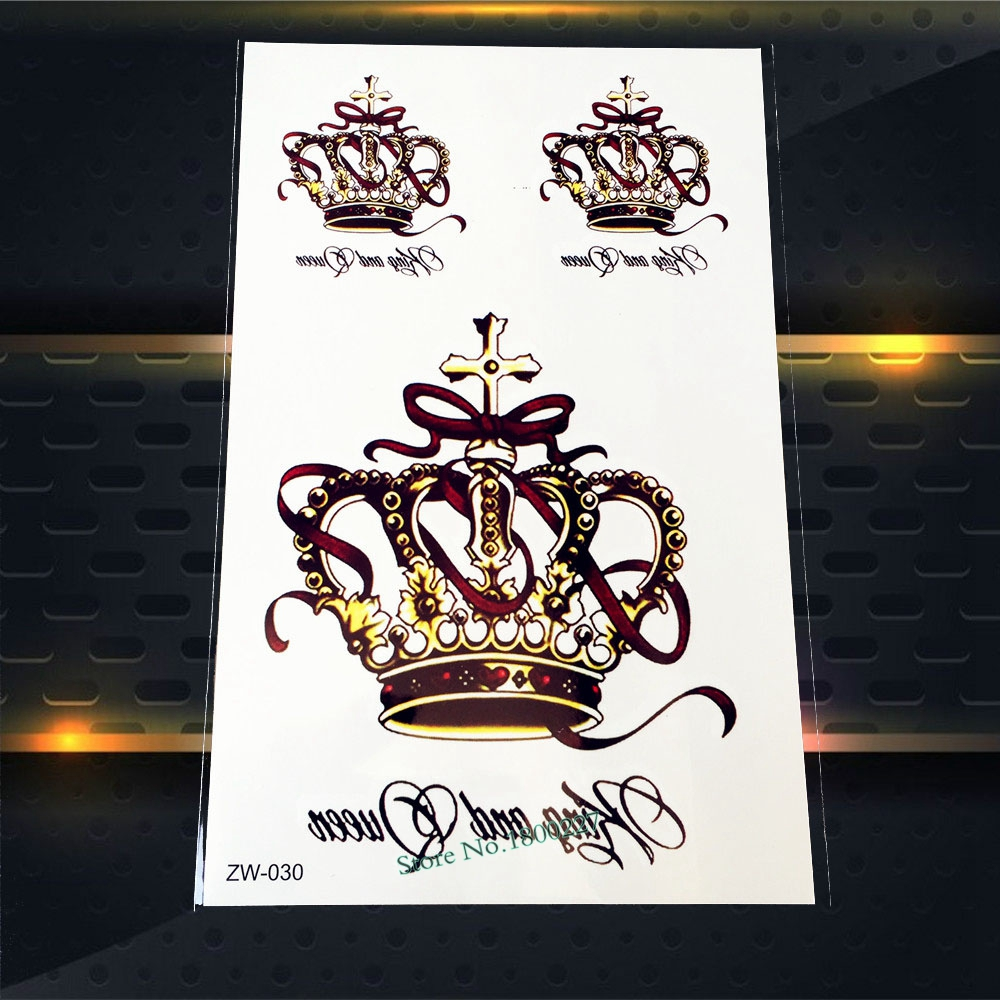 1PC Large Sexy Queen Crown Tattoo Women Body Art Waterproof Temporary Tattoo Sticker Fake Jewel Flash Tatoo On Back Decal PZW030