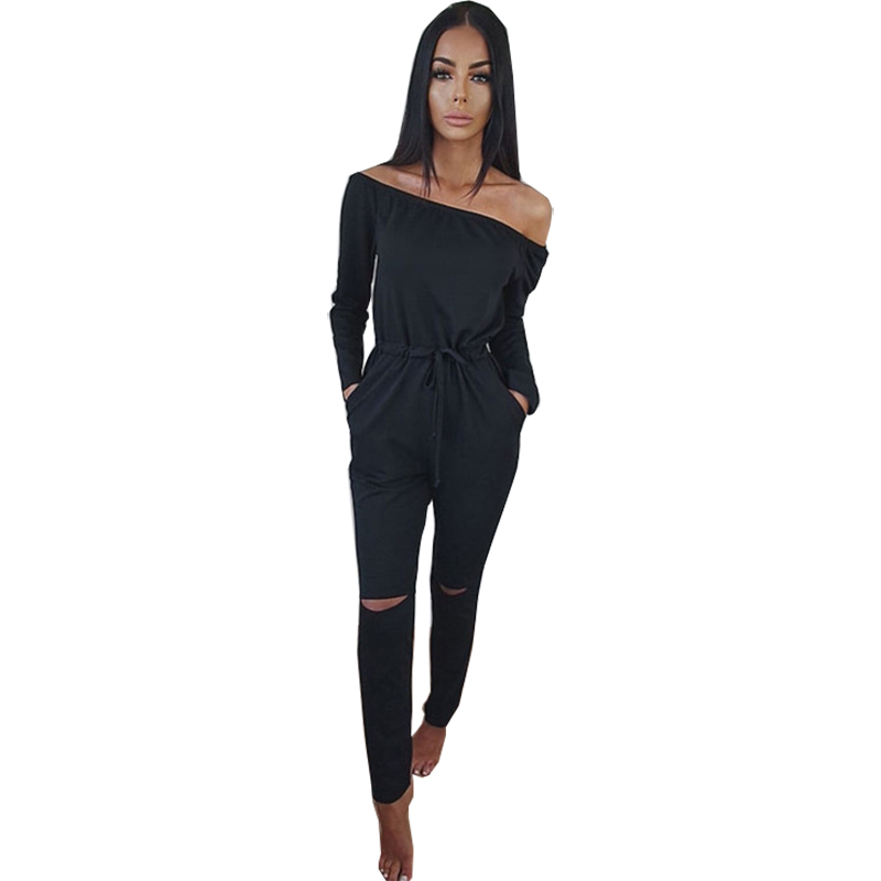 Trustful Womens Jumpsuit 2019 Spring And Autumn Solid Color Word Collar Long Sleeve Sexy Lace Up Jumpsuits Off Shoulder Vestidos Oym0090 Without Return Women's Clothing