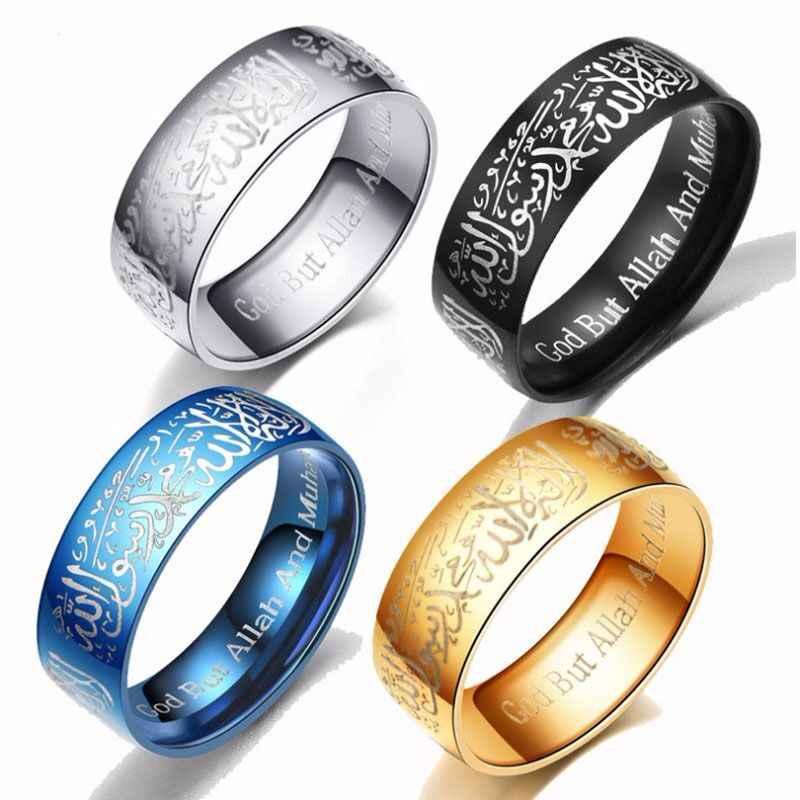 טבעת גברים של נירוסטה טבעות אנל Masculino מוסלמי אללה תכשיטי G-038