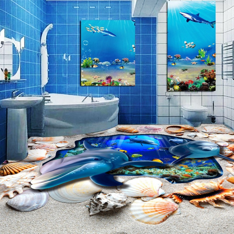 Free Shipping Sea World Dolphin Bathroom Toilet 3D Floor bedroom non-slip thickened waterproof square living room flooring mural