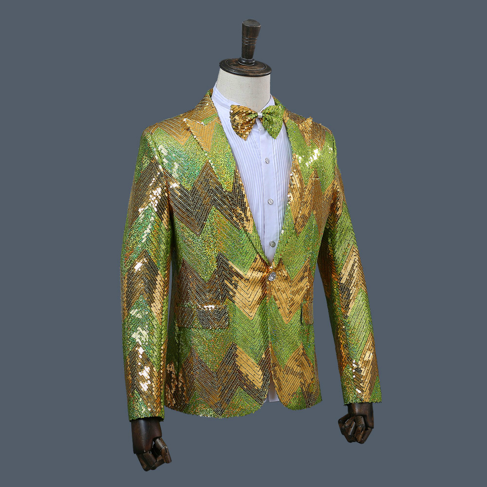 Mens Suits Sequins Blazer Single Breasted Polyester Blue Green High Street Men Blazers Regular Full Yellow Blue Suits in Blazers from Men 39 s Clothing