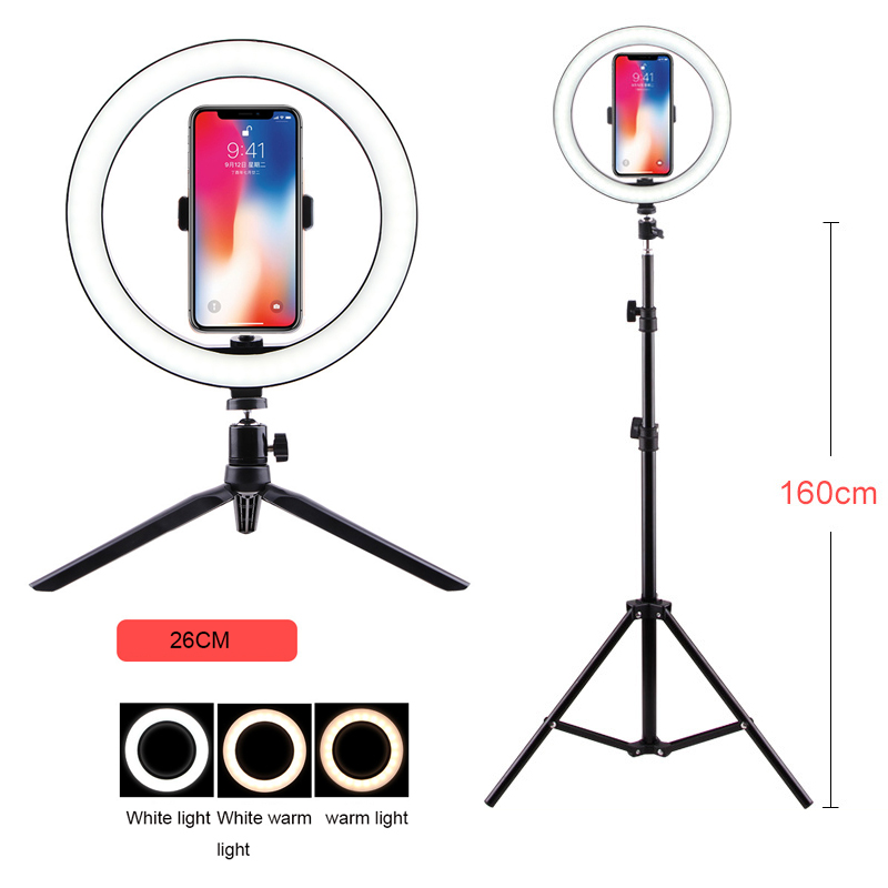 1 6M LED Selfie Ring Light Dimmable Studio Photography Photo Fill Ring Light with Tripod for iphone Smartphone Clip Makeup