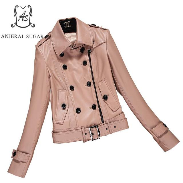 2018 new Spring Sheepskin Genuine Leather jacket women Casual motorcycle khaki sexy slim Double-breasted OL female jackets coat